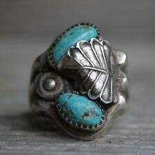 Old Pawn Native American Navajo Men's Turquoise Sterling Silver Ring sz 10.75