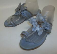 bed stu Isobel Sandals women's size 9.5 All Leather Blue thong NEW flower