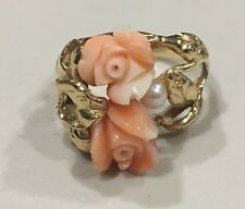 14K Yellow Gold Ring with Angel Skin Coral Flowers & Pearl- Size 7.25