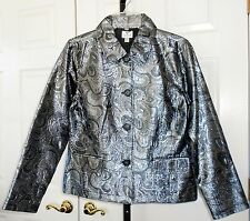 Chico's Shimmer Black/Silver Glistening Spendor Bailey Holiday Blazer Sz 1 NWT