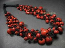 N4081 Tribal strand RED coral color glass beads Ethnic handmade NECKLACE TIBET