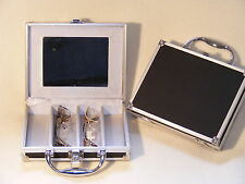 Caja de vidrios lentes Estuche Gafas Aluminio/Goma con mango,Espejo, para 4