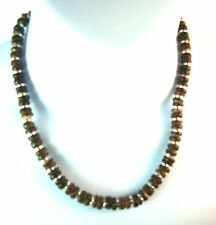 VINTAGE BROWN SILVER MULTI BEADED NECKLACE / CHOKER BRAND NEW (A1)