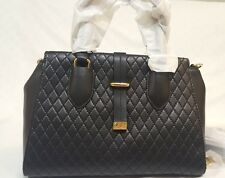 NWT Calvin Klein Quilted Black Satchel Leather handbag cross body in packing