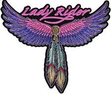 "Lady Rider Wings Feather 10"" x 8.5"" BACK PATCH For Ladies Biker Vest LRG-0236"