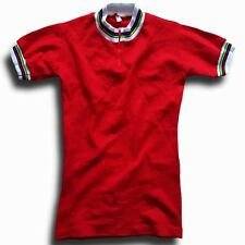 NOS VINTAGE BELGIAN MADE ACRYLIC RAINBOW TRIM EROICA CYCLING JERSEY TOP LABEL: 0