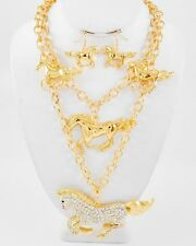 WESTERN HORSE / GOLD TONE CLEAR RHINESTONE  STATEMENT  NECKLACE /  EARRING SET 8