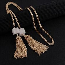 Haute Couture Natural  Rose Quartz Gemstone Tassel Fringe Gold Lariat Necklace