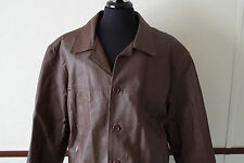 Haband Executive Division Mens Leather Coat Jacket Large Brown Quilted Lining