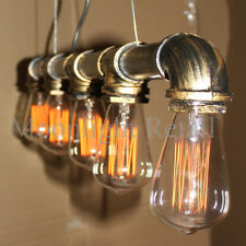 Industrial Steampunk Lighting Iron Pipe Edison Bulb Ceiling Bar light lamp Bronz