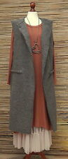 LAGENLOOK WOOL CELEBRITY QUIRKY BOHO  GILET/COAT*TAUPE*10-12-14 MADE IN ITALY