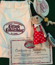 COTTAGE COLLECTIBLES Miniatures by Ganz TERRY Teddy Bear HEARTS in Pouch w/COA