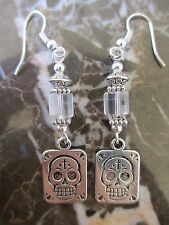 Clear Cube Glass Tibetan Silver Sugar Skull Day of the Dead Artisan Earrings