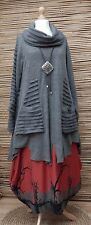 LAGENLOOK*MB GERMANY*WOOL MIX BEAUTIFUL A-LINE 2 POCKETS TUNIC/JUMPER*GREY* L