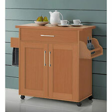 Kitchen Island Cart On Wheels With Wood Top Rolling Storage Cabinet Beech Table