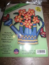 """Design Works BUTTERFLY WATERING CAN Wall Hanging Plastic Canvas Kit 12"""" x 15"""""""