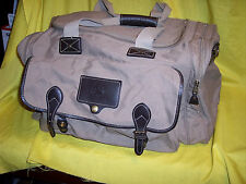 EDDIE BAUER FORD Duffle Bag Khaki Biege Brown Leather Trim Travel Gym USA