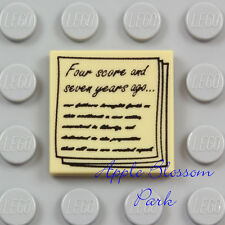 NEW Lego NEWS PAPER TILE - Tan 2x2 Minifig Lincoln 4 Score 7 Years Speech Scroll