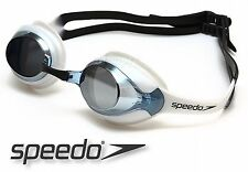 SPEEDO MERIT MIRROR SWIMMING GOGGLES BLACK WHITE CONTRAST STYLE ANTI FOG NEW