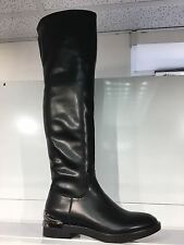 LADIES WOMENS OVER KNEE HIGH BLACK LEATHER STYLE LOW HEEL BOOTS SHOES SIZE 6