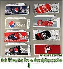 PICK 6 Flavor Tab Strips soda label Coke Pepsi vending machine Vendo Dixie Narco