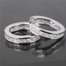 Fashion Women Silver Plated CZ New Small Round Hot Earrings HUGGIE Hoop Ear Stud