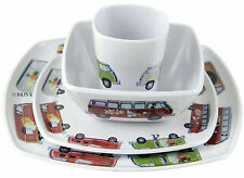 VW Volkswagen Split Screen Samba Van Microbus Camper Melamine 4 pc Tableware Set