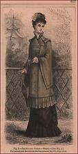 FASHION, Travelling Cloak, hand colored engraving, Original, Matted 1880