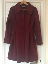Size S Darling Red Coat Lace Collar Button Up Long Plum Winter Warm Lined
