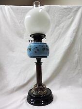 Antico Vittoriano Piedistallo Porcellana & in ottone lampada ad olio c.1880