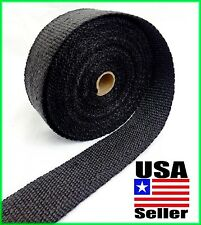 "BLACK MOTORCYCLE EXHAUST WRAP Heat Manifold Header 2""x 50FT ROLL VERY HIGH TEMP"