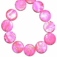 MP765 Pink Gold Drizzle Drawbench 20mm Flat Round Mother of Pearl Shell Bead 16""