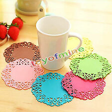 6pcs Silicone Coasters Random Round Drink Coasters Lace Stain Resistant Placemat