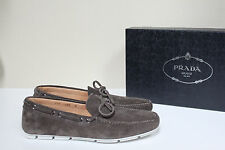 New sz 9 US / 8 UK Prada Slip on Tan Smoke Suede Driving Loafer MEN Dress Shoes