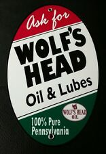 Wolf's Head Oil Gas Oval sign ... Gasoline