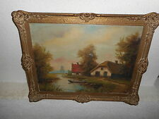 Old oil painting,Landscape with house, boat and windmill,is signed, and antique!