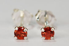 PETITE! GENUINE NATURAL MINED RED/ORANGE SAPPHIRE EARRINGS~STERLING SILVER~3MM