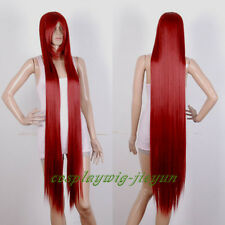 NEW 120cm Heat Resistant Wine Red Extra Long Bang Straight Cosplay Party Wig