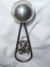 EUC Sterling Silver Teddy Bear Ball Baby Rattle Teether Rare Marked 925 RO, NICE