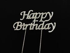 HAPPY BIRTHDAY CAKE PICK TOPPER DECORATION  DIAMANTE SPARKLY
