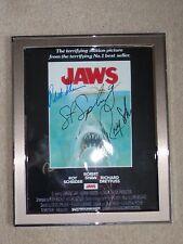 """JAWS Framed Movie 8.5 x11"""" Poster signed by SPIELBERG DREYFUSS SHAW & SCHEIDER"""
