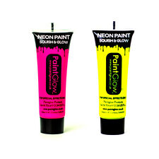 PAINTGLOW Rosa Giallo Neon Uv Viso & Corpo Pittura Festa Party 10ml Set di 2