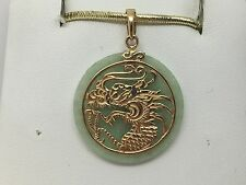 14K YELLOW GOLD GOLD JADE DRAGON PENDANT 3.6 GRAMS