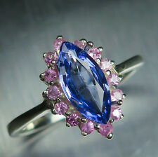 Natural Blue Tanzanite marquise cut & pink sapphires 925 sterling silver ring
