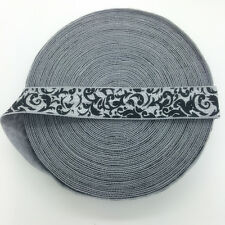 """5 Yards 5/8"""" FLOWER Fold Over Elastic Spandex Satin Band Ties Trim Silver Gray"""
