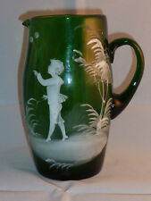 Delightful Antique Mary Gregory Green Glass Jug
