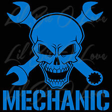 Skull and Cross Wrench Vinyl Decal Mechanic Design 2 Sticker Grease Monkey Car