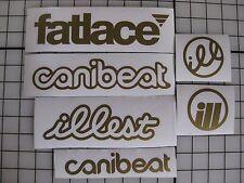 6 Sticker Pack1 GOLD Vinyl Decal Fatlace illest Canibeat Drift Race Car JDM VIP