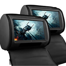 "Universal Black 9"" Leather-Style HD Car DVD Headrests with SD/USB/Games Mercedes"