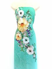Mint Blue Thai Tuan 3D Silk Ao Dai (Vietnamese Dress) Fabric #99